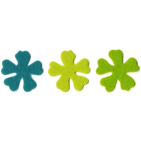 Fleur moyenne 1 en feutrine 4 cm Turquoise Vert anis et Vert tilleul x6 Nature - Photo n°1