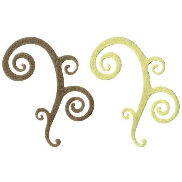 Arabesque Spirales épaisses en feutrine 12,5 cm Ivoire et Gris x4 Love - Photo n°1