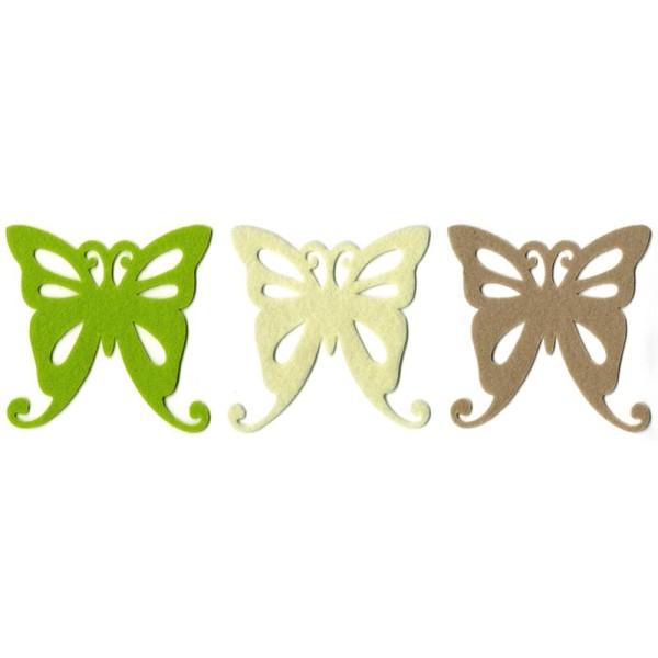 Grand papillon en feutrine 10 cm Ivoire Beige et Vert anis x6 Love - Photo n°1