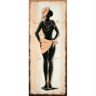 Image 3D Femme - Africaine en pied fond beige 20 x 50 cm