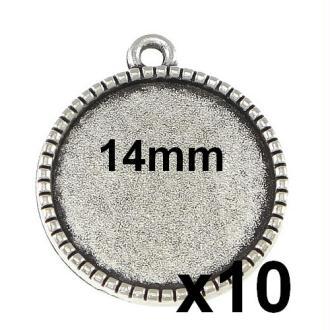 10 Supports Pendentif Argent Pour Cabochon 14mm Mod640