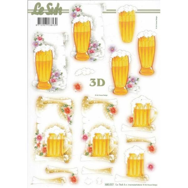 Feuille 3D pré-découpée A4 Verre de Bière - Photo n°1