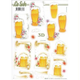 Feuille 3D pré-découpée A4 Verre de Bière