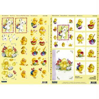 Carte 3D Lapins et poussins de Pâques recto verso die cut 21 x 29,7 cm