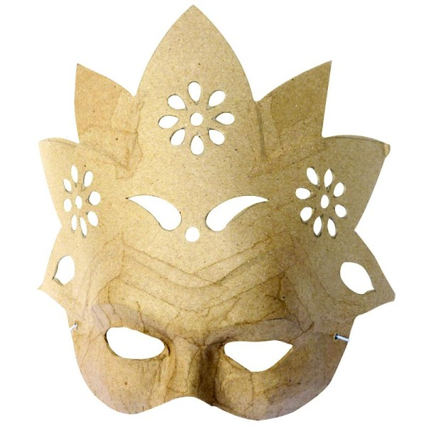 Masque Fleur en papier mâché 23 cm - Photo n°1
