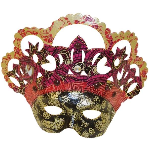 Masque Vive la reine en papier mâché 25,5 cm - Photo n°2