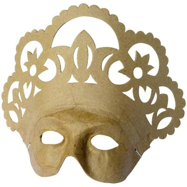 Masque Vive la reine en papier mâché 25,5 cm - Photo n°1