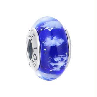 Charm Murano Bleu Flocons S925