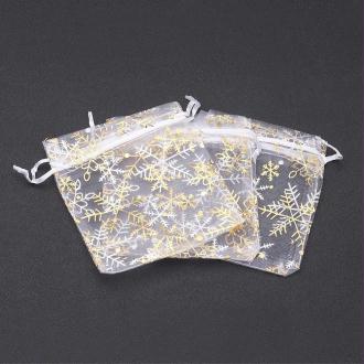 10 Sac Cadeaux Organza Blanc Avec Flocon Doré 10x12cm
