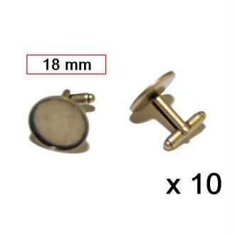 Lot De 10 Boutons De Manchette 18mm Bronze