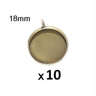 10 Supports Pendentif Bronze Pour Cabochon 18mm