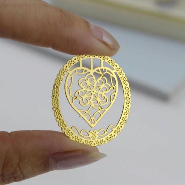 Marque pages en métal doré coeur - Photo n°4