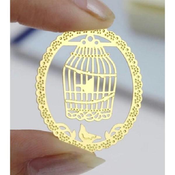 Marque pages en métal doré cage à oiseau - Photo n°4