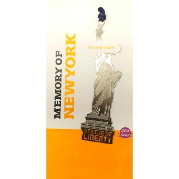 Marque pages en métal argenté Statue de la liberté USA  8 cm - Photo n°2