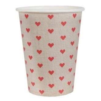 20 Gobelets en carton Tradition coeur rouge