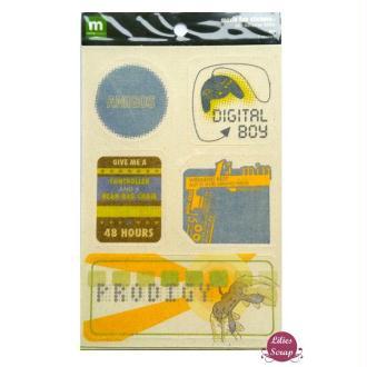 Stickers texturés garçon moxie fab 17 x 12 cm scrapbooking carterie créative