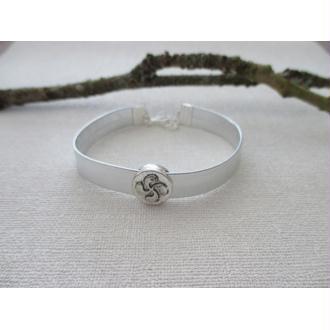 C7-22 - Kit bracelet cordon plat argenté et perle passante fleur