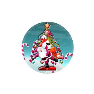 1 Cabochon 25 mm en Verre Sapin Noel Pop 5