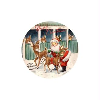 1 Cabochon 25 mm en Verre Père Noel