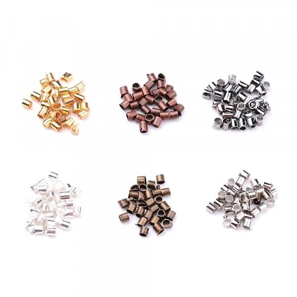 Boite de Perles tubes à écraser 1,5mm 6 couleurs : Argenté, bronze, doré, cuivre, gunmetal ... - Photo n°2