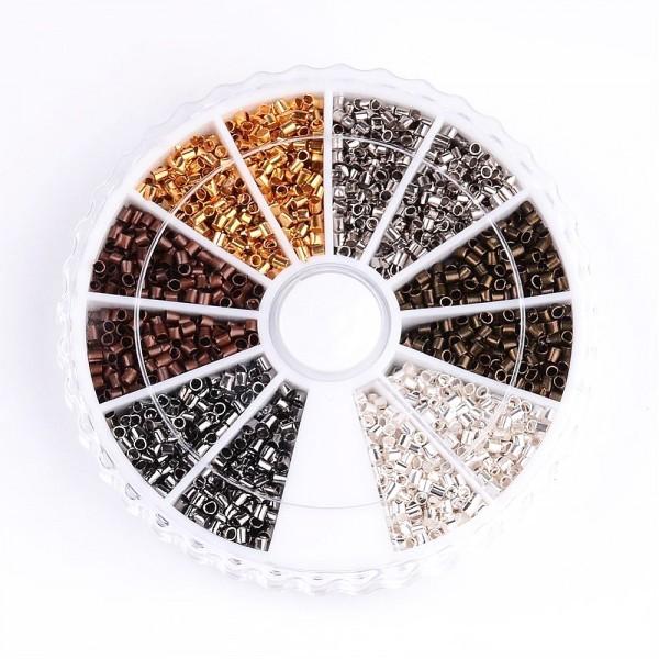 Boite de Perles tubes à écraser 1,5mm 6 couleurs : Argenté, bronze, doré, cuivre, gunmetal ... - Photo n°1
