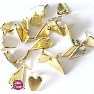 15 Brads coeurs dorés  attaches parisiennes  1,7 cm scrapbooking