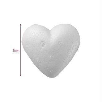 Demi Coeur bombé en polystyrène, diam. 5 cm, Épaisseur 1,5 cm, Fond plat, dens