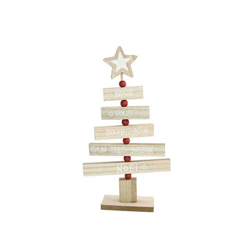 Centre de table sapin bois naturel et blanc 27cm le march de no l - Centre de table de noel ...