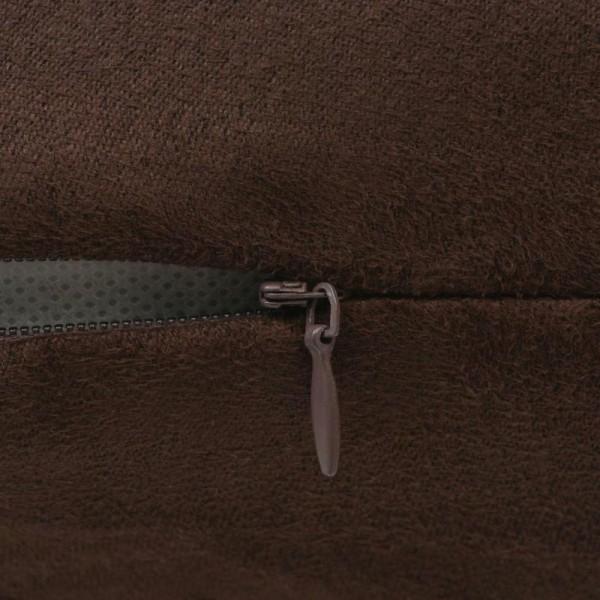 Vidaxl Housse De Coussin 4 Pcs 50x50 Cm Polyester Faux Daim Marron - Photo n°2
