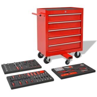 vidaXL Chariot à outils pour atelier avec 269 outils Acier Rouge