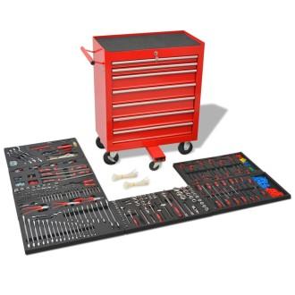 vidaXL Chariot à outils pour atelier avec 1 125 outils Acier Rouge