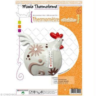 Moule plastique Poule et thermomètre à décorer