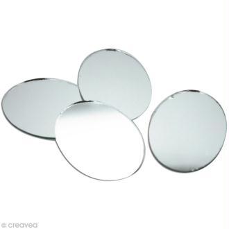 Miroir rond 25 mm x10 miroir autocollant rond creavea for Miroir 50 mm