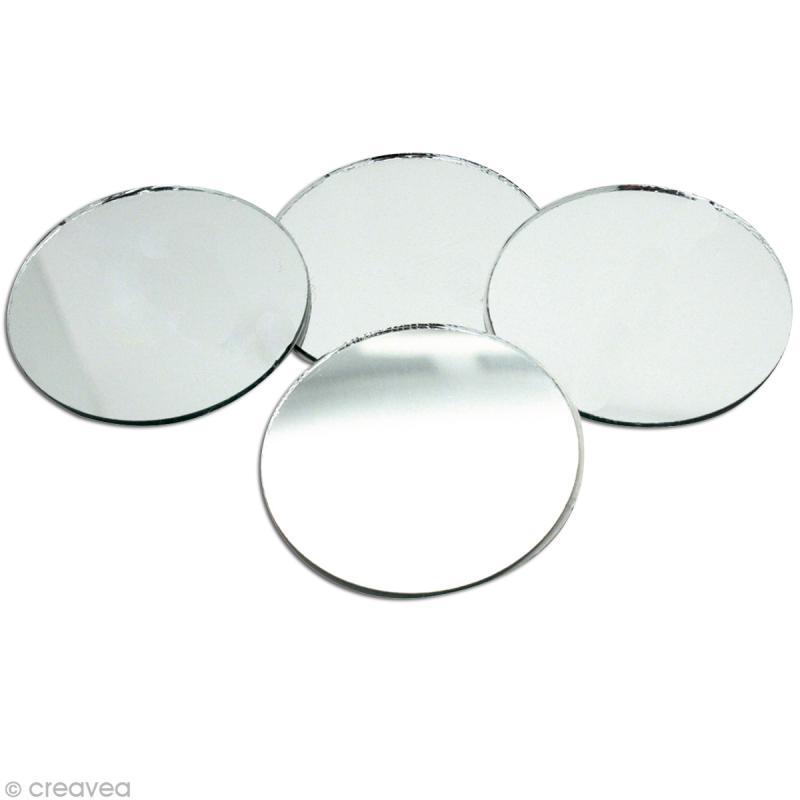 Miroir rond 50 mm x4 miroir autocollant rond creavea for Miroir rond 30 cm