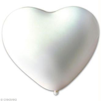 Ballon coeur Blanc 25 cm x 10