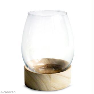 Vase en verre avec base en bois - Ovoïde - 13,5 x 11 cm