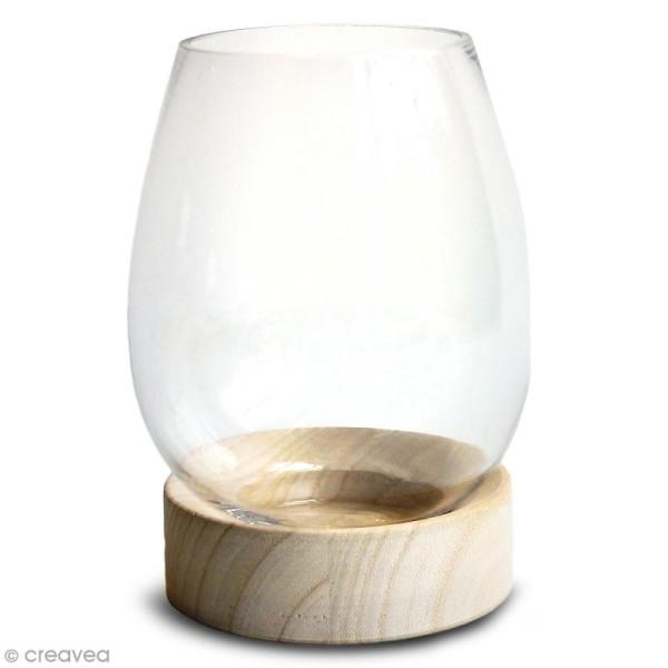Vase en verre avec base en bois - Ovoïde - 18 x 14 cm - Photo n°1
