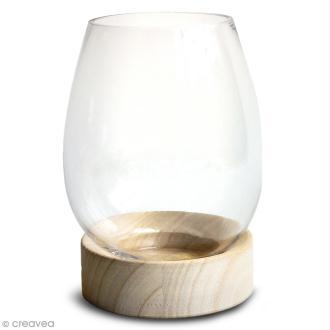 Vase en verre avec base en bois - Ovoïde - 18 x 14 cm