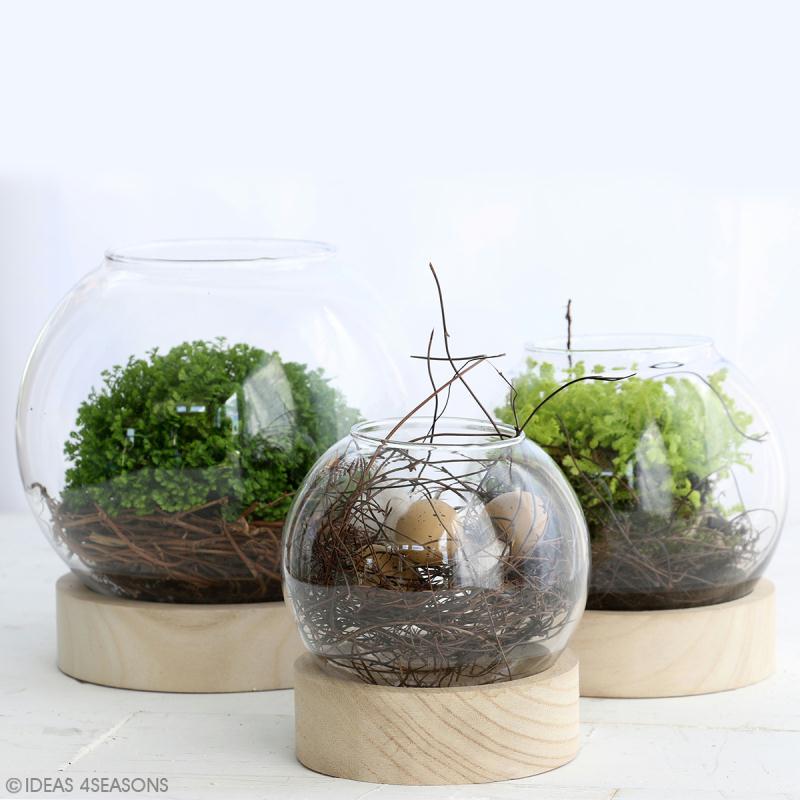 Vase en verre avec base en bois - Rond - 11 x 10 cm - Photo n°3