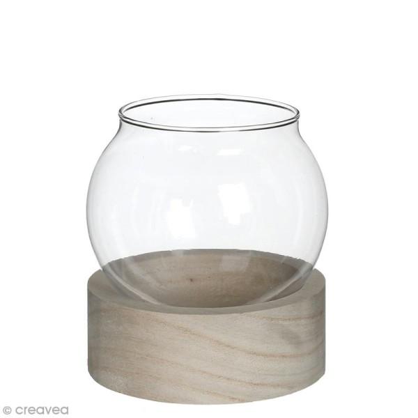 Vase en verre avec base en bois - Rond - 11 x 10 cm - Photo n°1