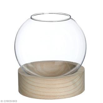 Vase en verre avec base en bois - Rond - 12 x 13 cm