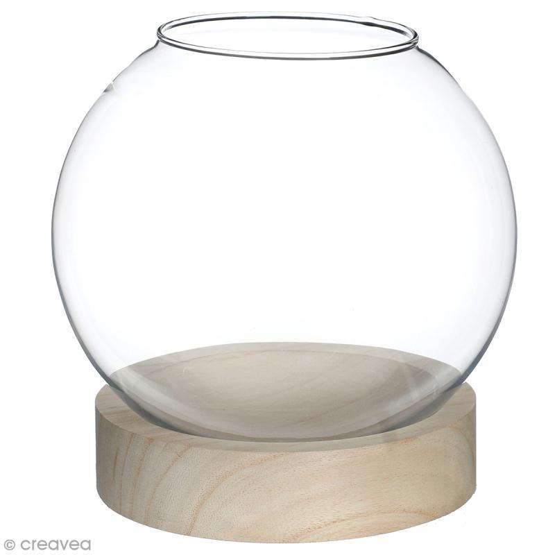 Vase en verre avec base en bois rond 21 x 20 cm boules vases et suspensions creavea - Vase rond en verre ...