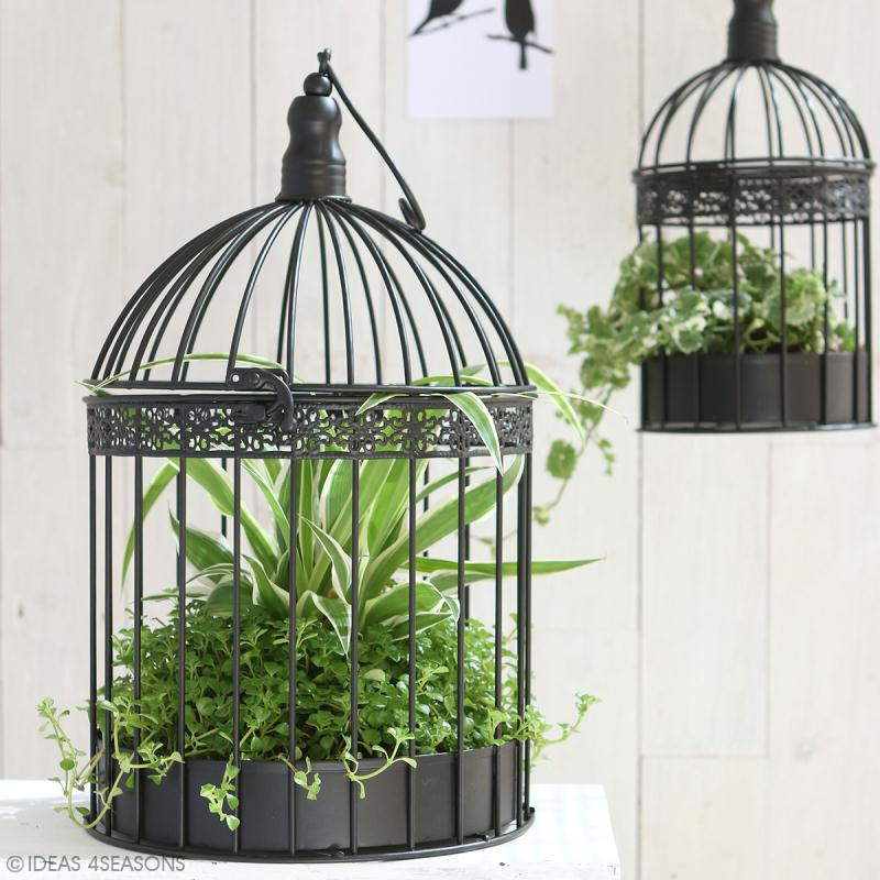 Set de cages d coratives en fer 2 tailles noir 39 cm for Cages a oiseaux decoratives