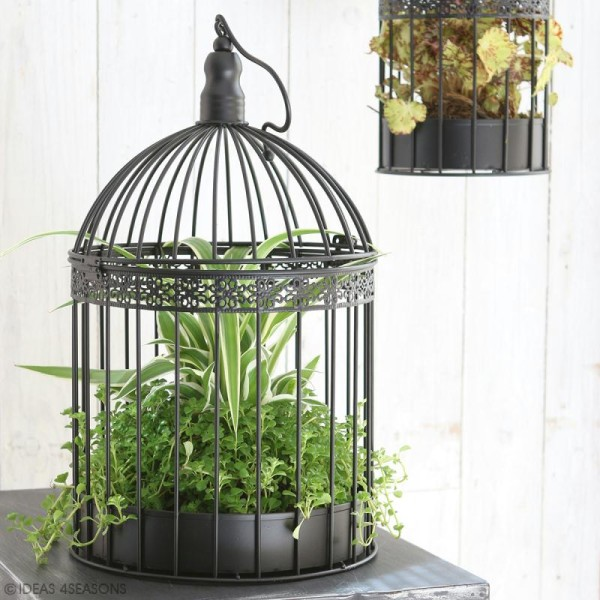 Set de cages décoratives en fer 2 tailles - Noir - 39 cm, 29cm - 2 pcs - Photo n°3