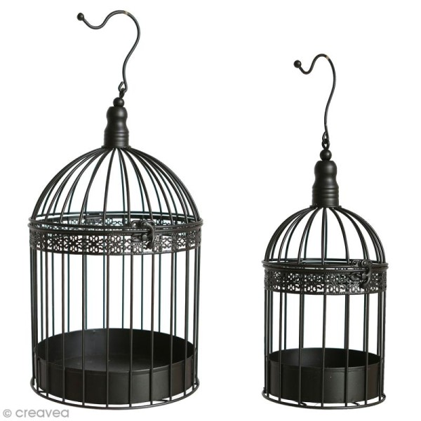 Set de cages décoratives en fer 2 tailles - Noir - 39 cm, 29cm - 2 pcs - Photo n°1