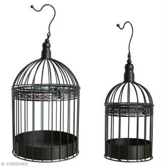 Set de cages décoratives en fer 2 tailles - Noir - 39 cm, 29cm - 2 pcs