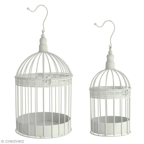 Set de cages décoratives en fer - Blanc - 2 pcs - Photo n°1