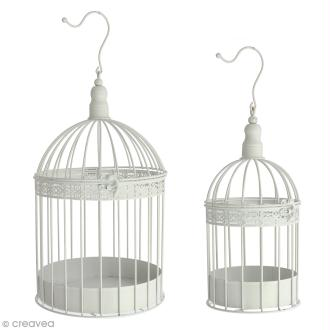 Set de cages décoratives en fer - Blanc - 2 pcs