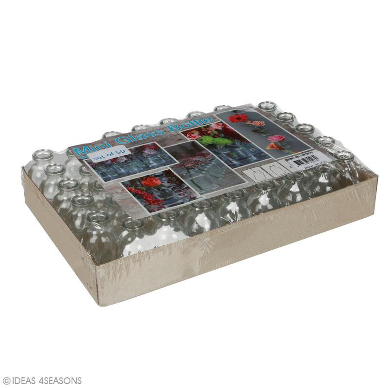Assortiment de 50 mini bouteilles en verre - 6,5 x 3,5 cm - Photo n°2
