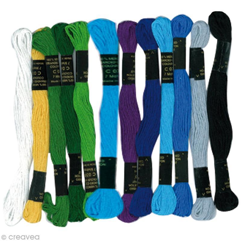 fil pour bracelet br silien mers du sud x12 fil coton creavea. Black Bedroom Furniture Sets. Home Design Ideas